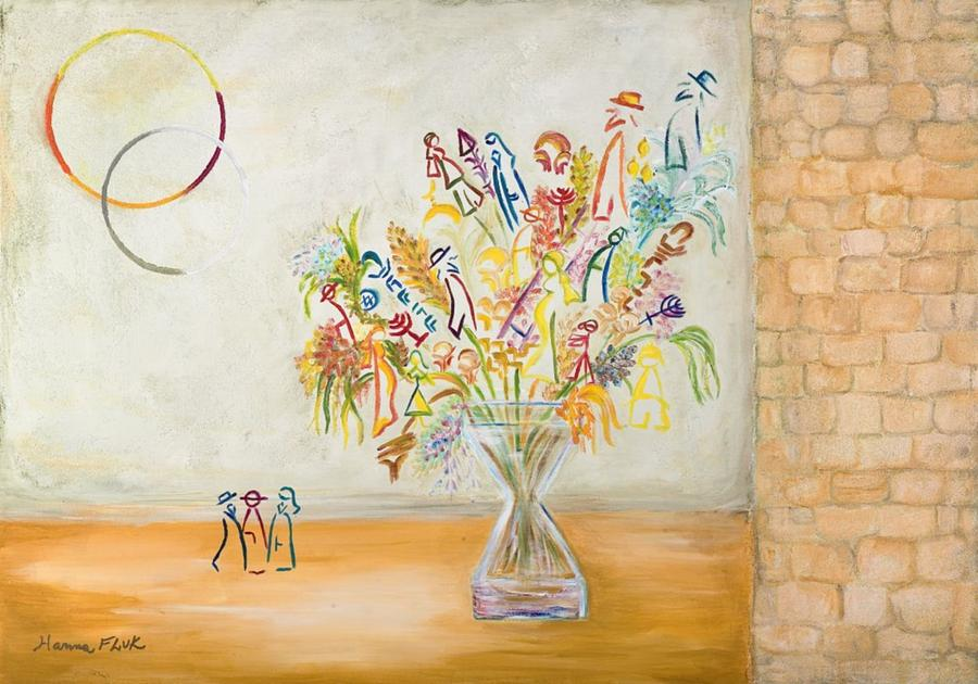 Urban Painting - Jerusalem Flowers by Hanna Fluk