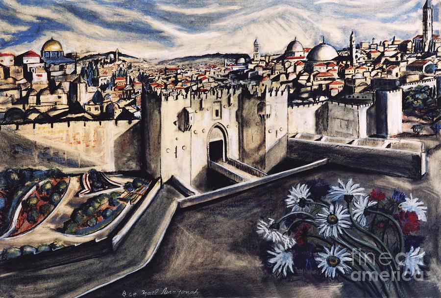 Landscape Painting - Jerusalem From The Damascus Gate by Yael Avi-Yonah