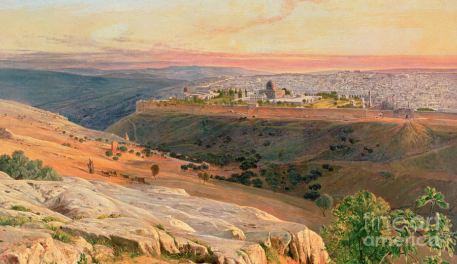 Orientalist Painting - Jerusalem From The Mount Of Olives by Edward Lear