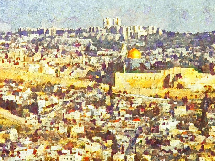 Landscape Digital Art - Jerusalem Sunrise by Digital Photographic Arts