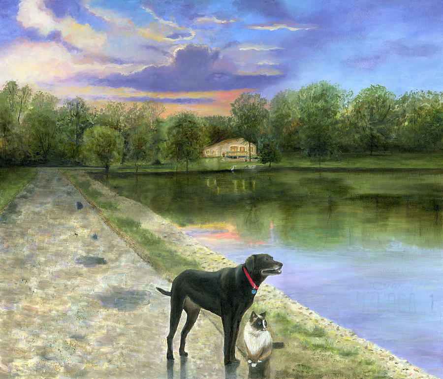 Jessica's Mystery Original Oil Painting Canvas Purple Blue Sky Clouds Sun Set Sunset Beautiful Cecilia Brendel Black Labrador Dog Lab Kitten Cat Portrait Home House Lake Front Thomas Kinkade Jessica's Mystery Trees Reflection Long Road Water Woods Green  Gary Koen's Home Waterloo Illinios Thomas Kinkade Cecilia Brendel Painting - Jessicas Mystery  by Cecilia Brendel
