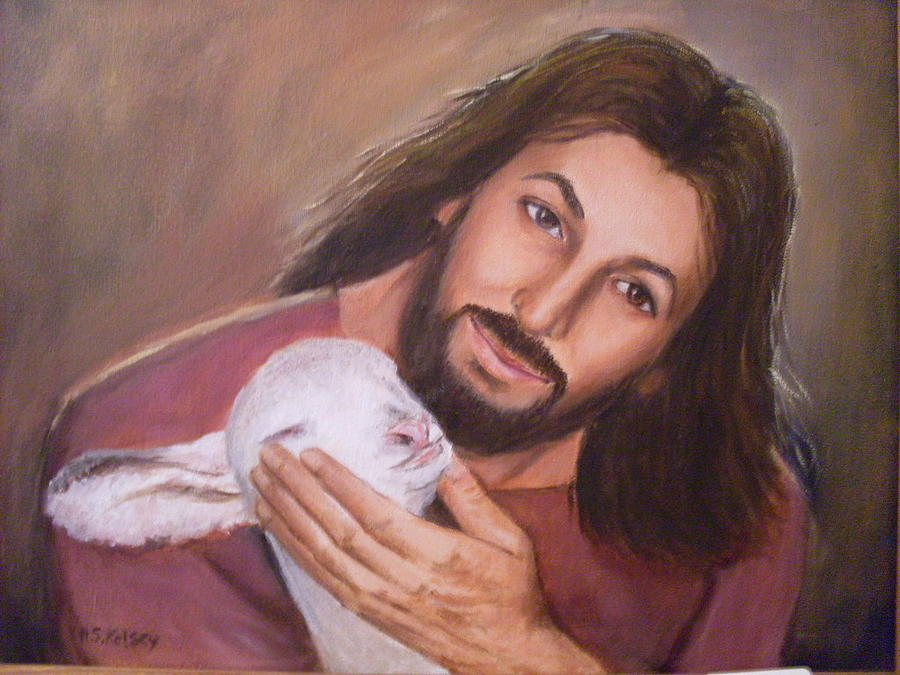 Jesus And Lamb Painting By Sharleen Kelsey