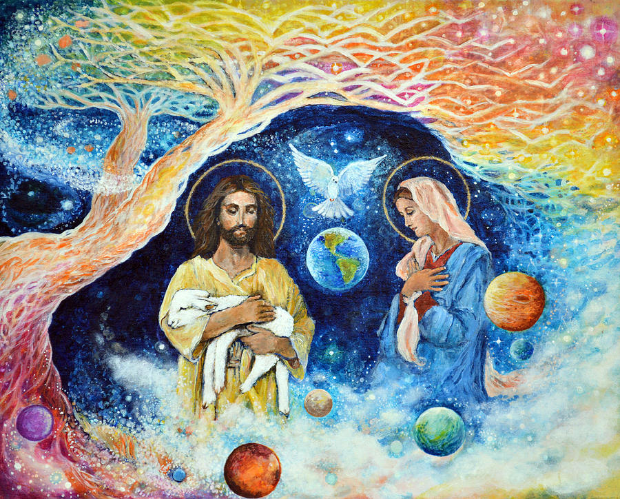 Jesus Painting - Jesus And Mary Cloud Colored Christ Come by Ashleigh Dyan Bayer