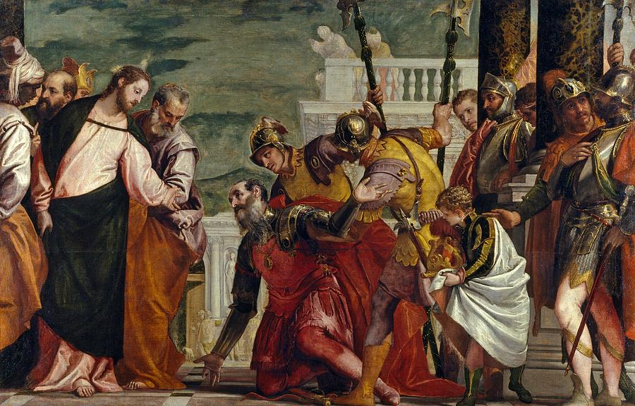 1571 Painting - Jesus And The Centurion by Paolo Veronese