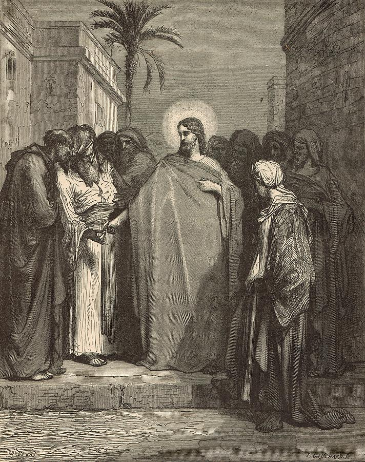 Biblical Drawing - Jesus And The Tribute Money by Antique Engravings