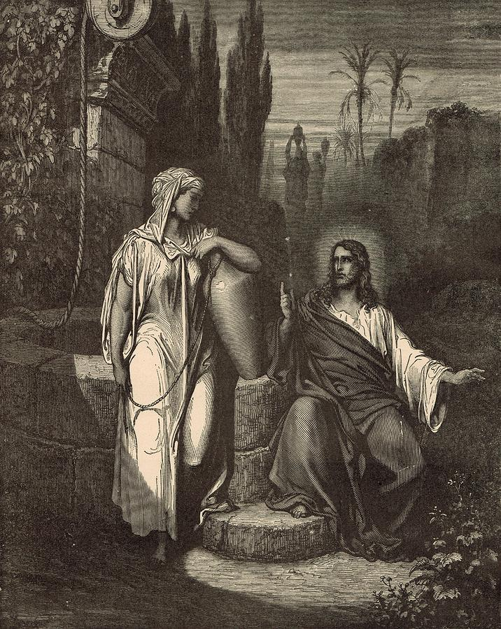 Biblical Drawing - Jesus And The Woman Of Samaria by Antique Engravings