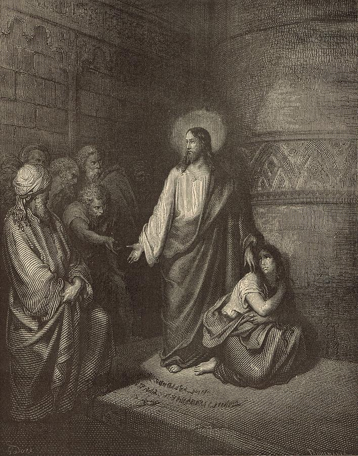 Biblical Drawing - Jesus And The Woman Taken Into Adultery by Antique Engravings