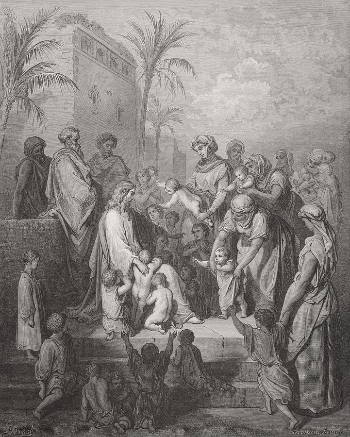 Child Painting - Jesus Blessing The Children by Gustave Dore