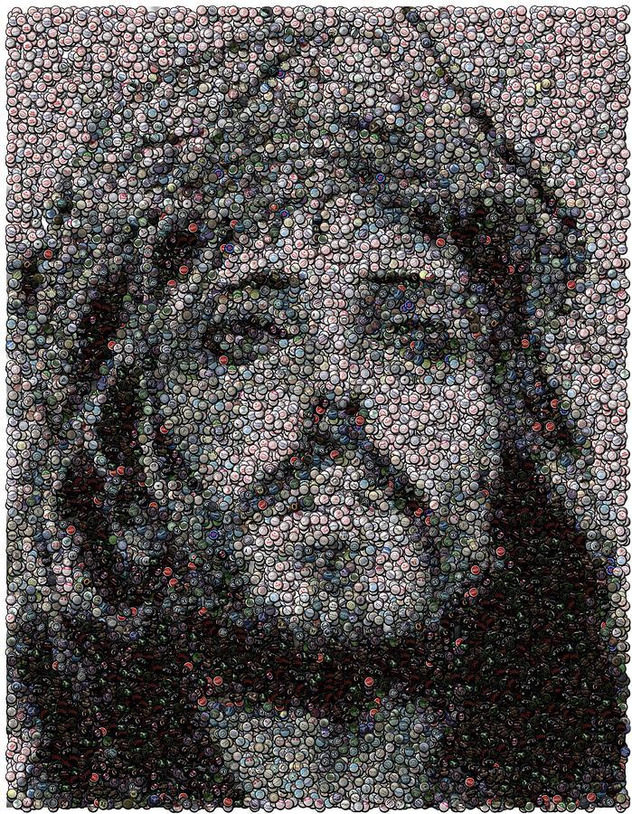 Jesus Photograph - Jesus Bottle Cap Mosaic by Paul Van Scott