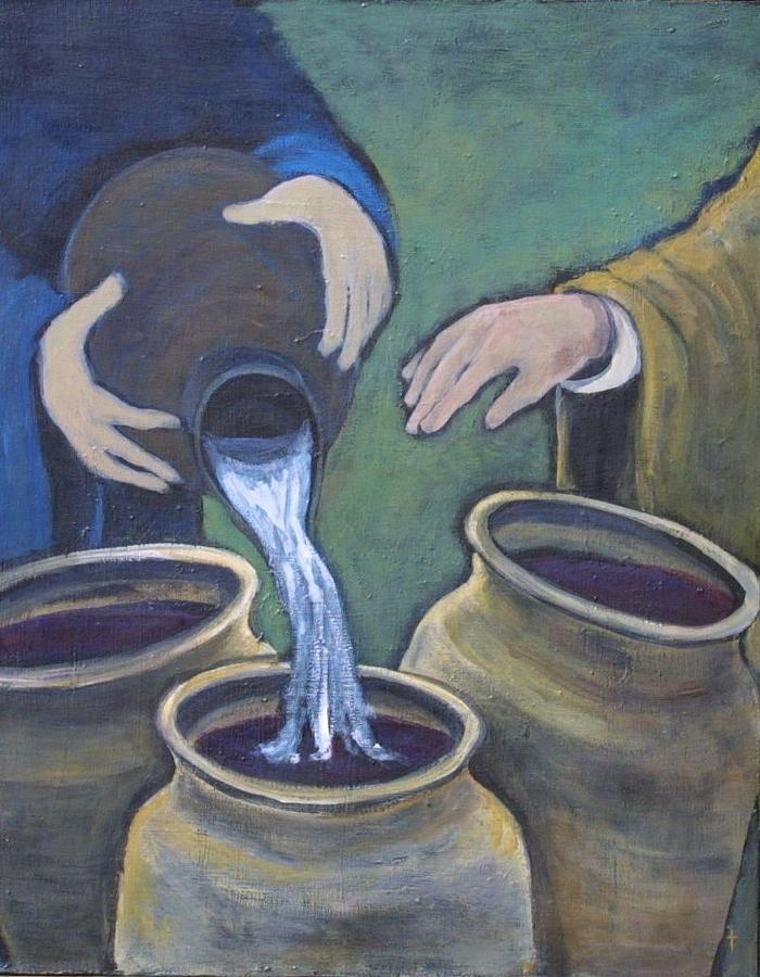 Jesus Changes Water To Wine Painting By Ann Lukesh
