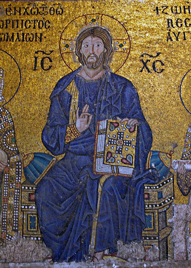 Ancient Photograph - Jesus Christ Mosaic by Stephen Stookey