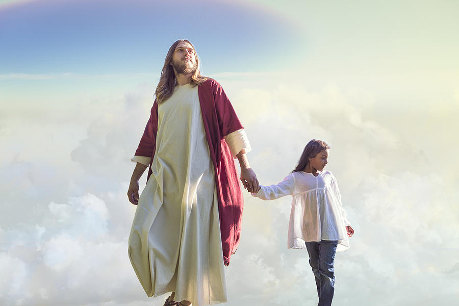 Jesus Christ Walks with a Child Among the Clouds Photograph by TerryJ