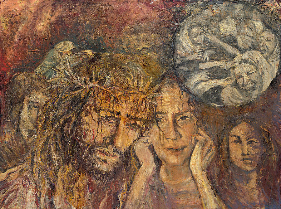 Jesus comforts the Woman of Jerusalem by Patricia Trudeau