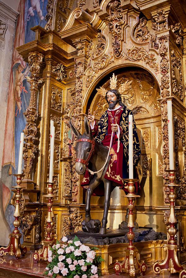 Seville Photograph - Jesus Entering Jerusalem On A Donkey Reredos by Artur Bogacki