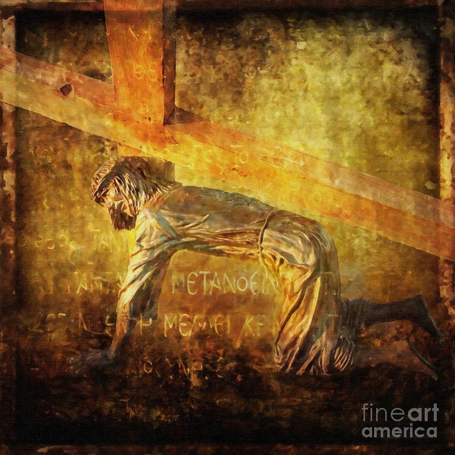 Jesus Digital Art - Jesus Falls Again Via Dolorosa 7 by Lianne Schneider