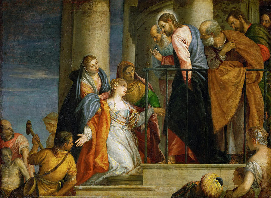 jesus healing the woman with the issue of blood painting by paolo