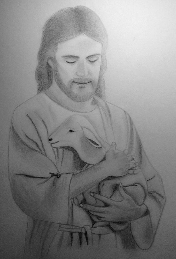 Jesus Holding Lamb Drawing By Jacinta Ngai