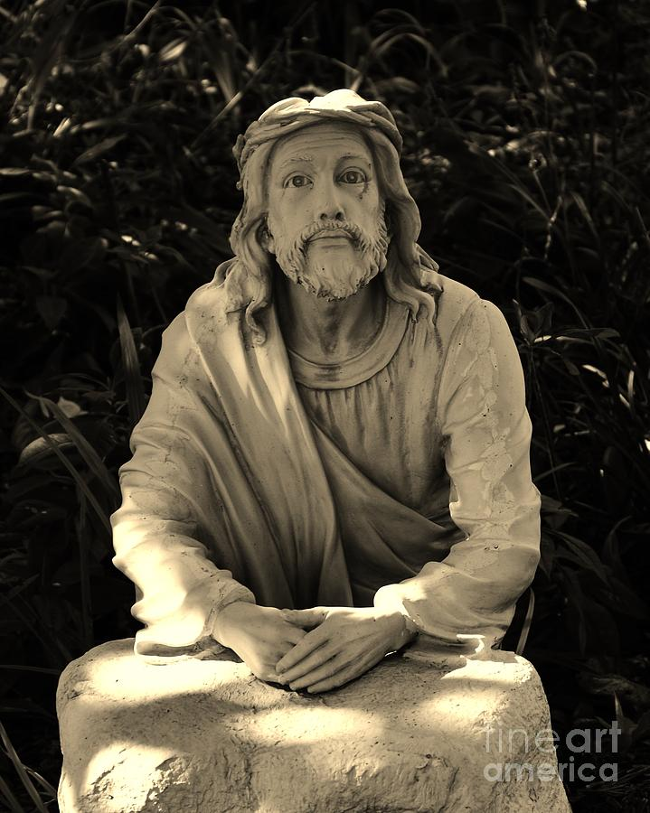 Brown Photograph - Jesus In The Garden by Bob Sample