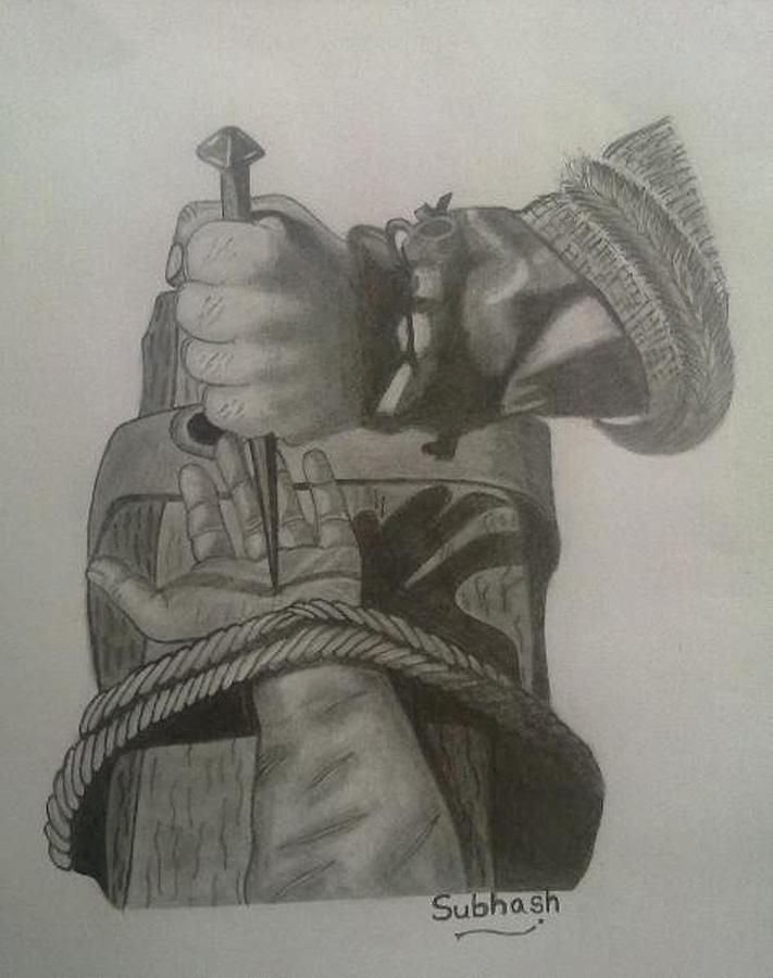 Jesus Is Nailed To The Cross Drawing by Subhash Mathew