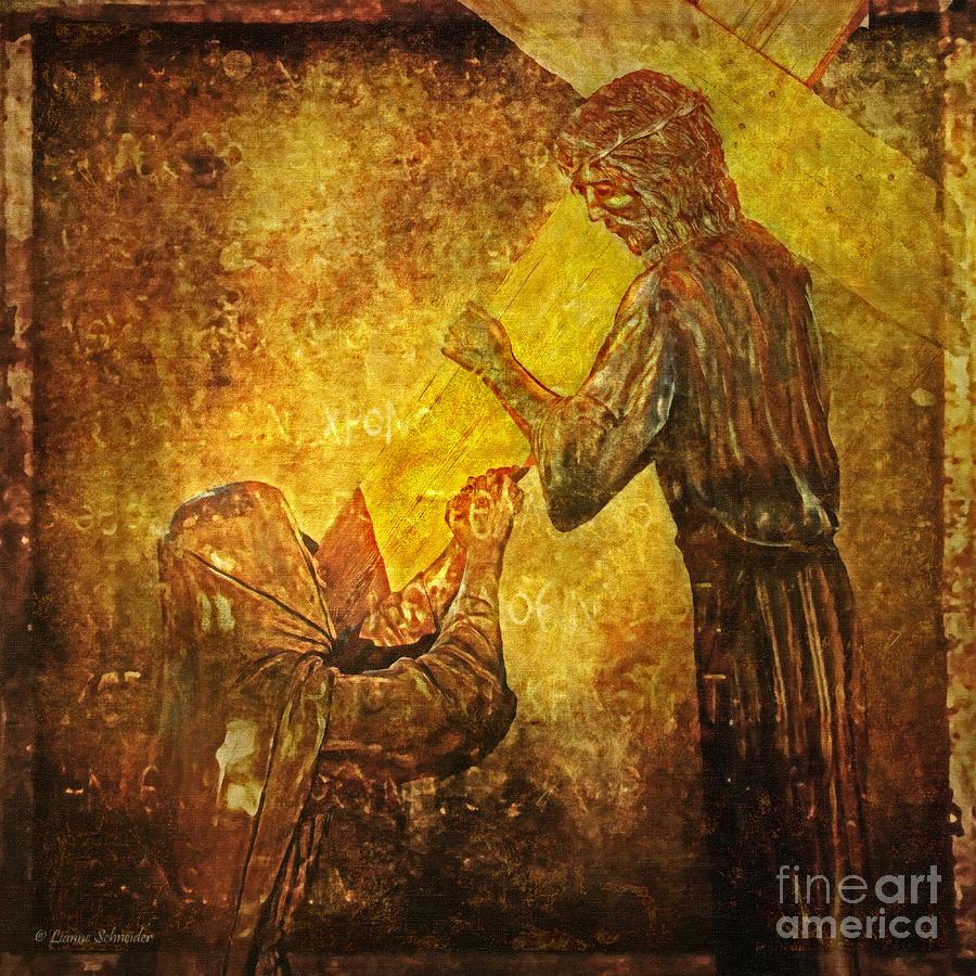 Jesus Digital Art - Jesus Meets His Mother Via Dolorosa 4  by Lianne Schneider
