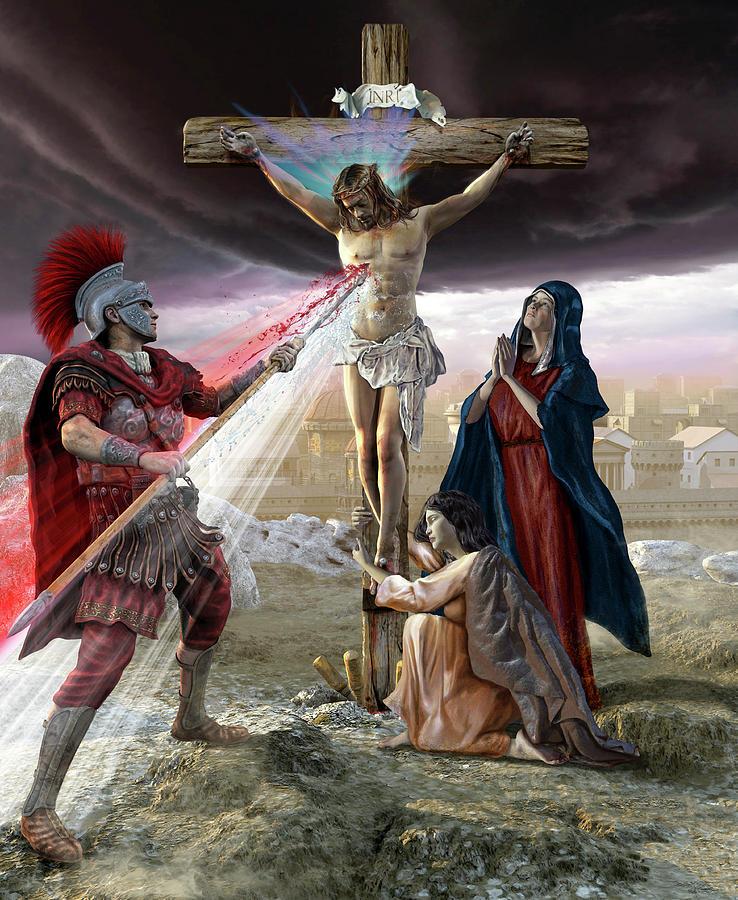 Vertical Photograph - Jesus On The Cross, Roman Piercing by Kurt Miller
