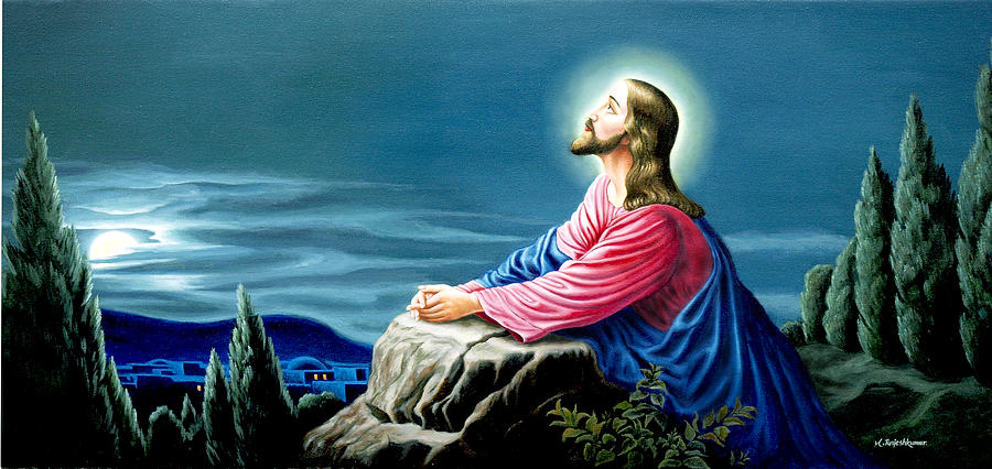 jesus praying painting by m rajesh kumar