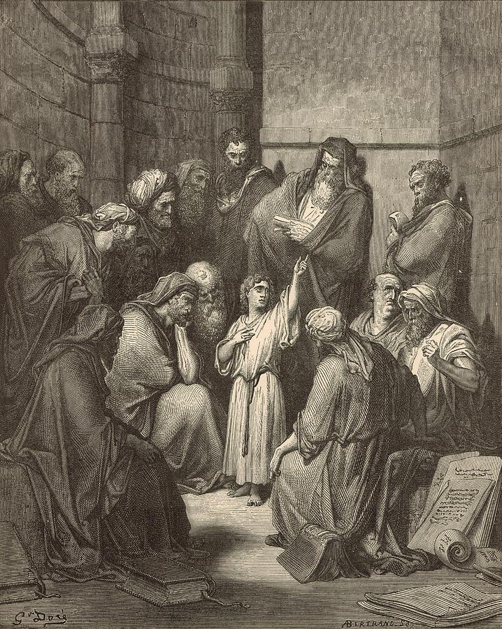 Biblical Drawing - Jesus Questioning The Doctors by Antique Engravings