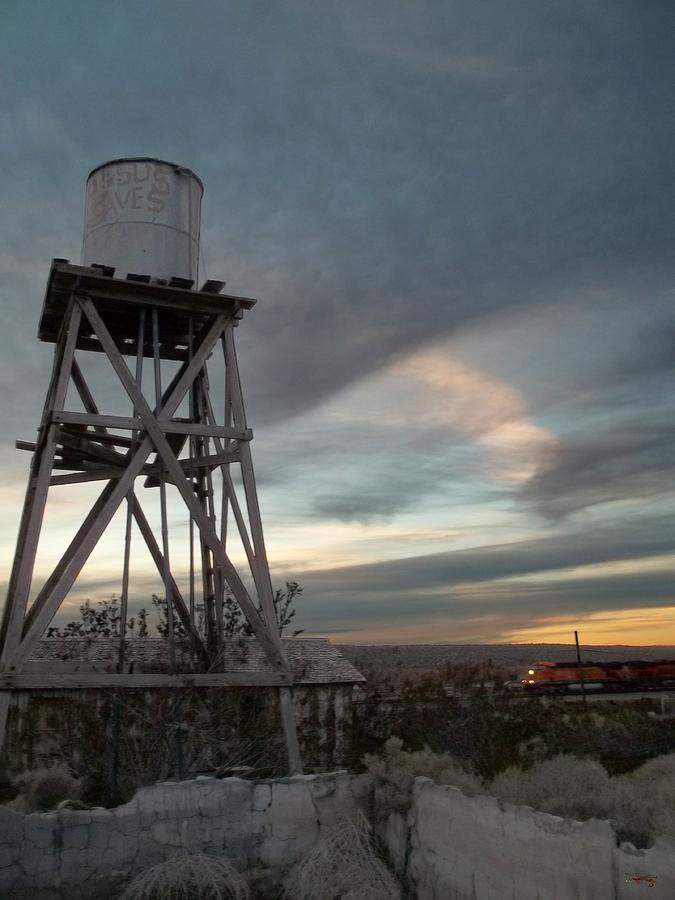 Train Photograph - Jesus Saves Watertower - Route 66 by Glenn McCarthy Art and Photography