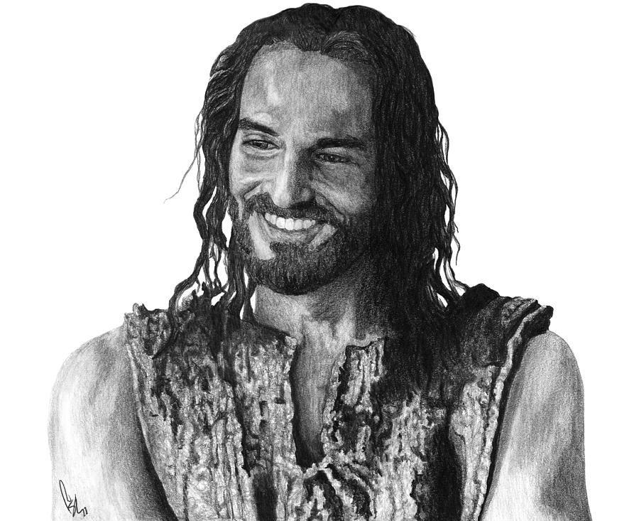 Drawing Drawing - Jesus Smiling by Bobby Shaw
