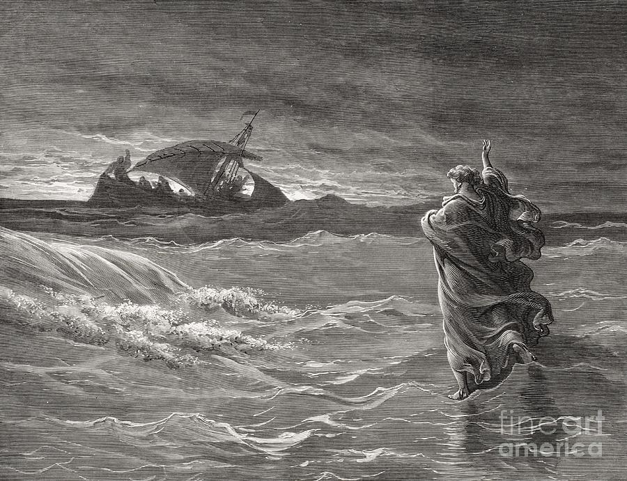 Jesus Walking On The Sea John 6 19 21 Drawing by Gustave Dore