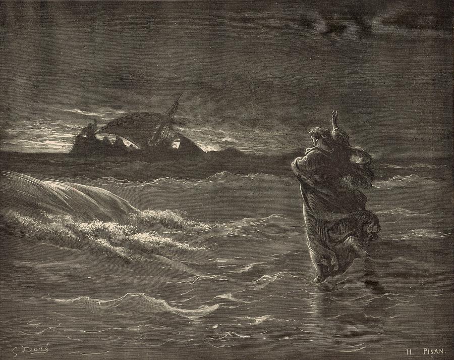 Biblical Drawing - Jesus Walking On The Water by Antique Engravings