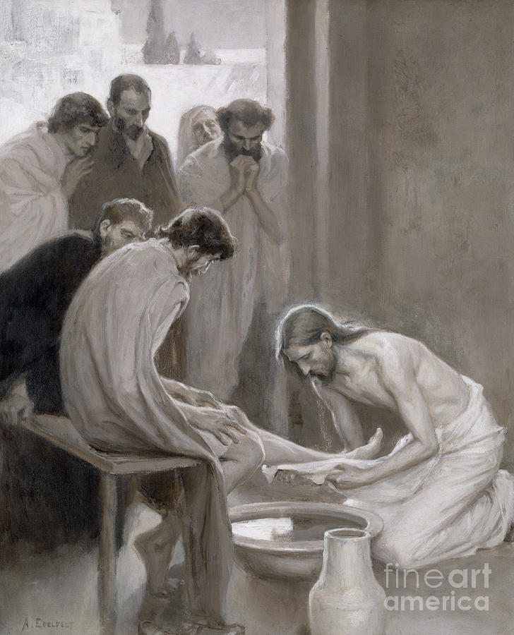 Disciple; Drying; Nordic; Cleaning; Jesus Christ; New Testament; Bible; Biblical Scene Painting - Jesus Washing The Feet Of His Disciples by Albert Gustaf Aristides Edelfelt