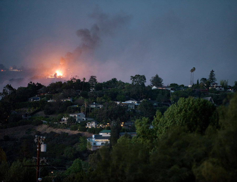 Burning Photograph - Jesusita Wildfire Burn In The Distance by Kevin Steele