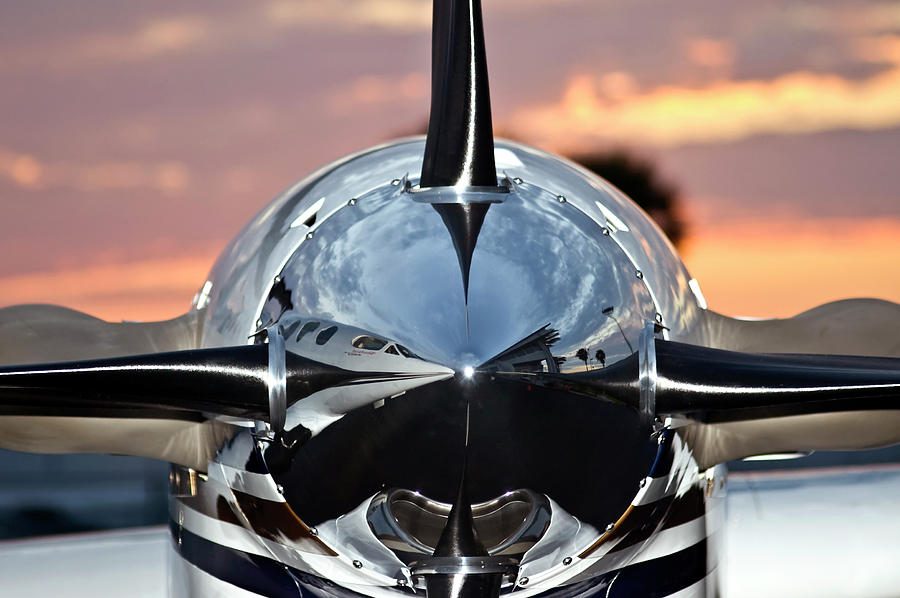 Airplane Photograph - Airplane At Sunset by Carolyn Marshall