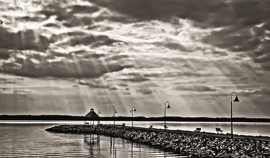 Jetty Photograph - Jetty And Sunrays In Bw by Greg Jackson