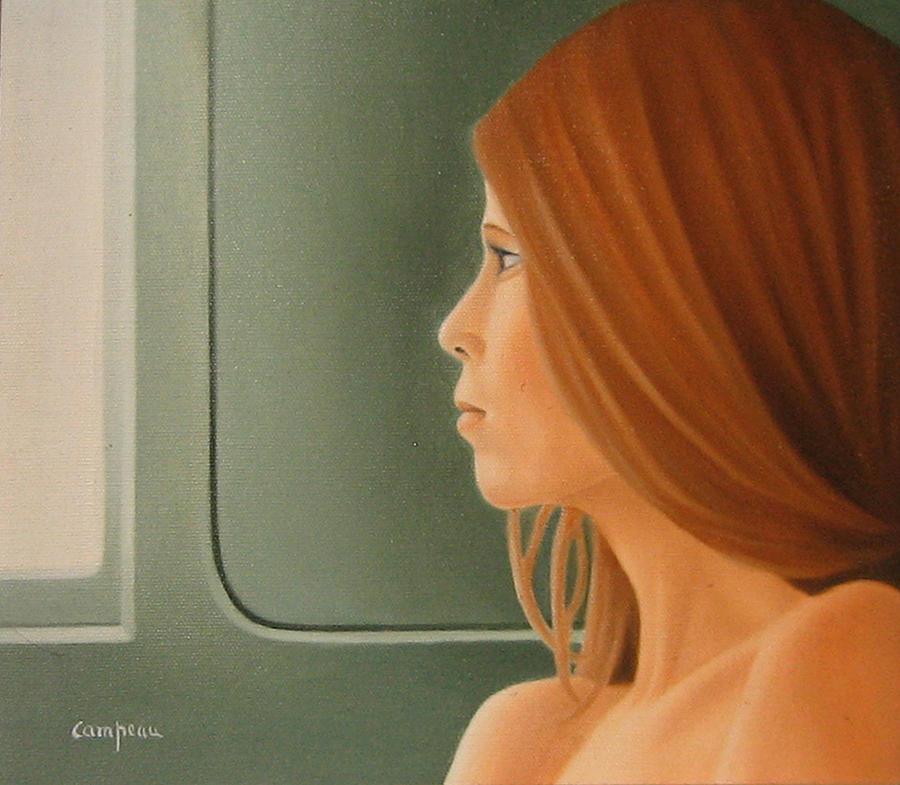 Green Painting - Jeune Fille Dans Un Train by Michel Campeau