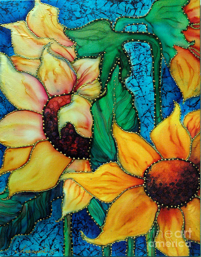 Sunflowers Painting - Jeweled Sassy Sunflowers by Francine Dufour Jones