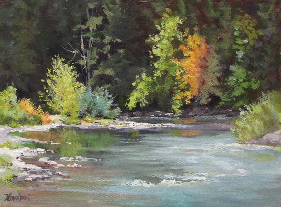 River Painting - Jewels by Karen Ilari