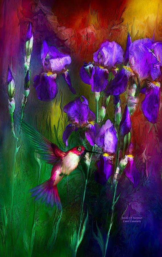 Iris Mixed Media - Jewels Of Summer by Carol Cavalaris
