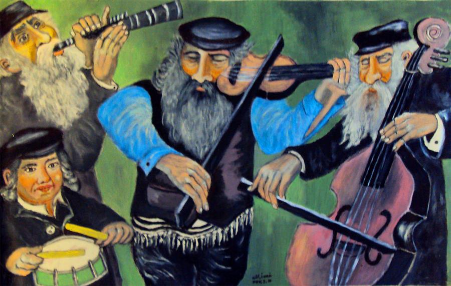 Jewish Symbol Painting - Jewish Klezmer by Mimi Eskenazi