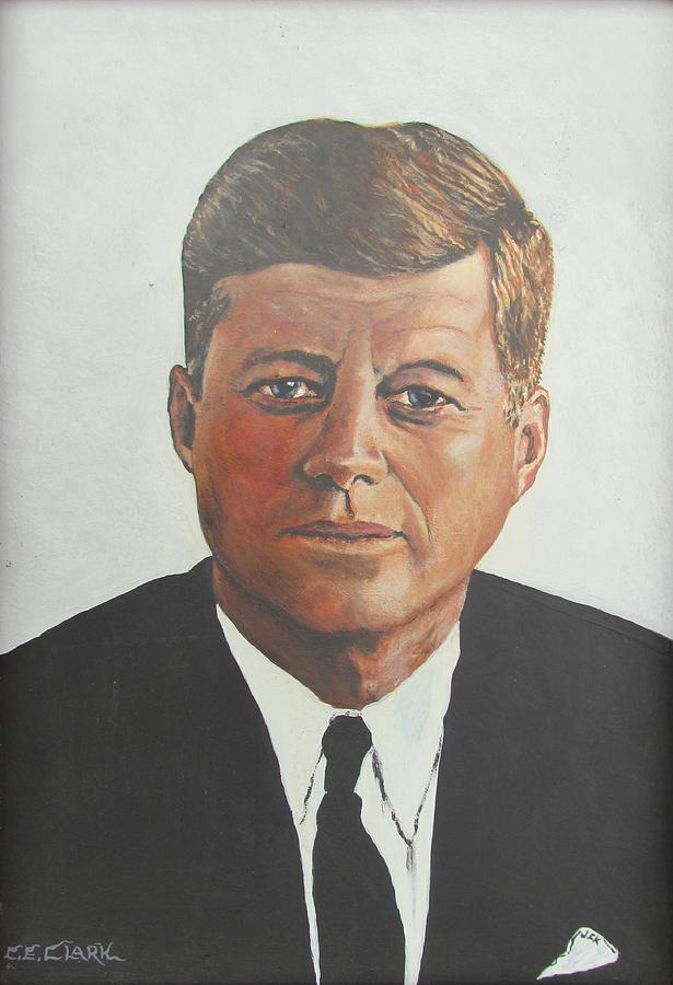 Clark Painting - Jfk Portrait by C E Clark
