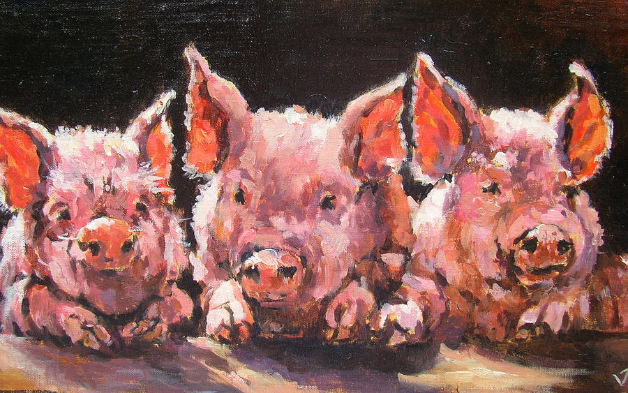 Piglets Painting - Jiggery Porkery by Jacinta Crowley-Long