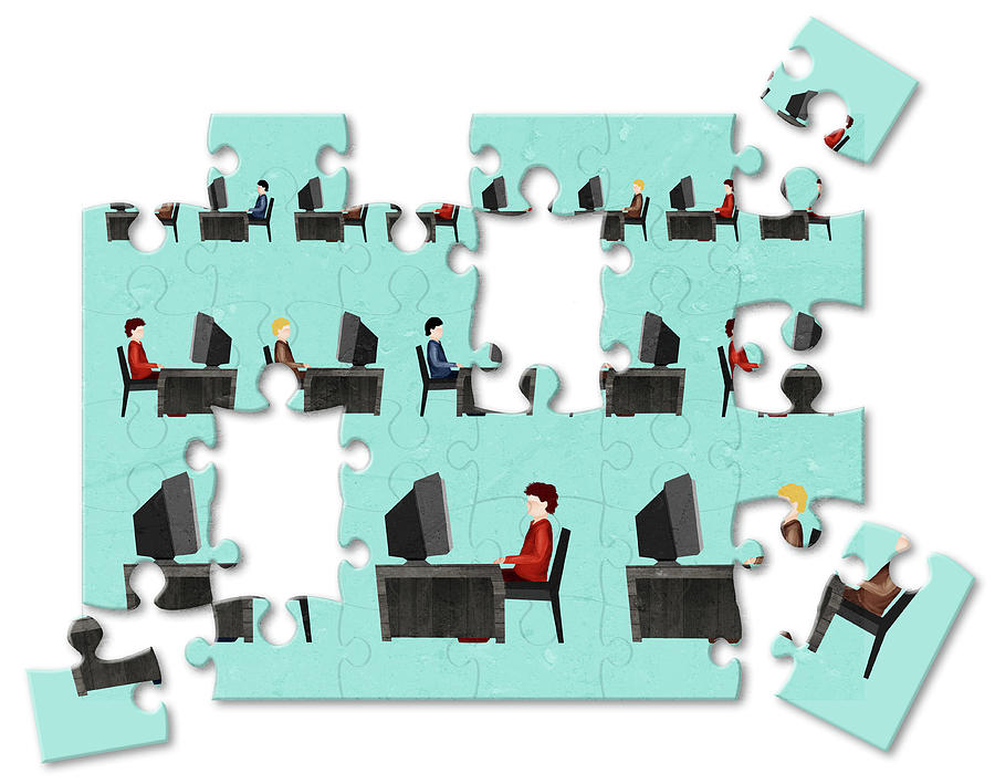 Business Photograph - Jigsaw Puzzle Of Businessmen by Fanatic Studio / Science Photo Library