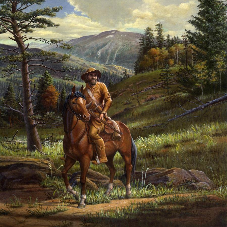 Jim Bridger Mountain Man Square Format Painting By