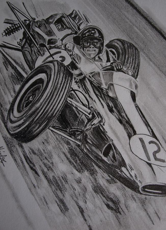 Motorsport Drawing - Jim Clark At Monaco 64 by Juan Mendez