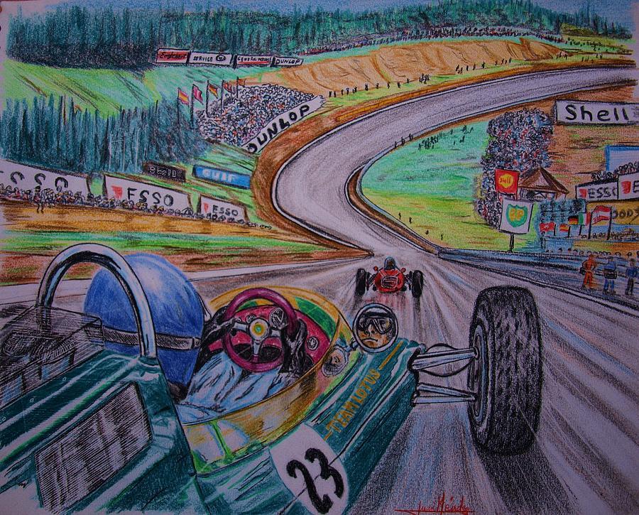 Jim Clark Painting - Jim Clark The King Of Spa by Juan Mendez