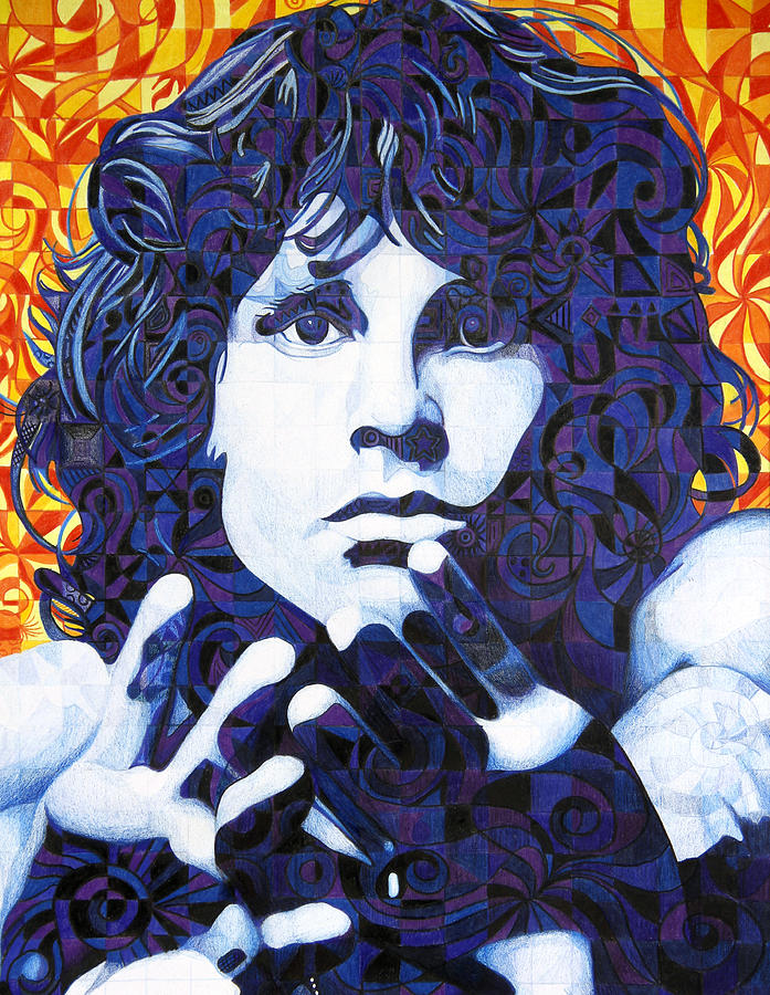 Jim Morrison Drawing - Jim Morrison Chuck Close Style by Joshua Morton