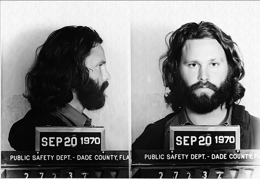 Jim Morrison Mug Shot In Black And White Photograph By