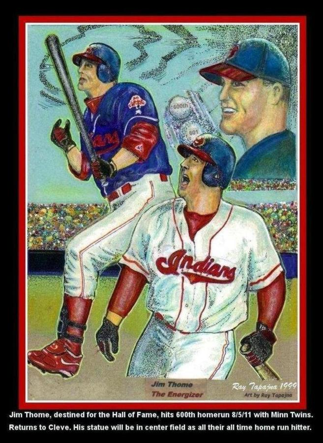 Sports Mixed Media - Jim Thome Cleveland Indians by Ray Tapajna