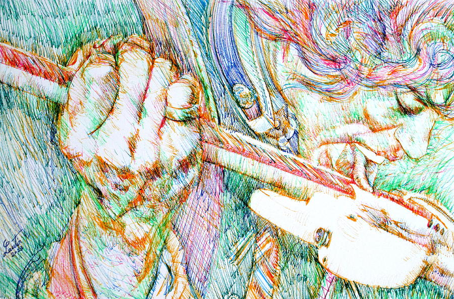Jimi Hendrix Drawing - Jimi And His Guitar by Fabrizio Cassetta
